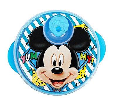 Pratinho Infantil Com Tampa E Divisória Mickey Azul