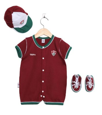 Kit Macacão Bebê Fluminense 3 Peças Oficial