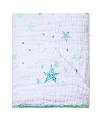 Toalha De Banho Bebê Com Capuz Estrela Bordado Verde - Papi