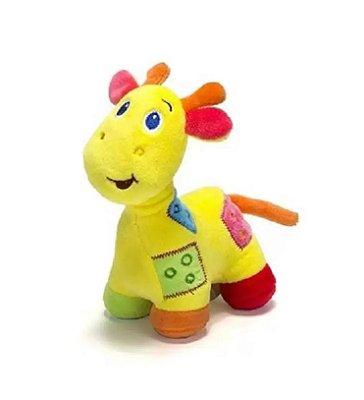 Girafa De Pelúcia Com Chocalho Amarela Unik