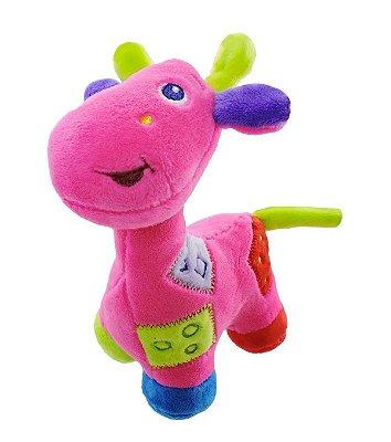 Girafa De Pelúcia Com Chocalho Rosa Unik