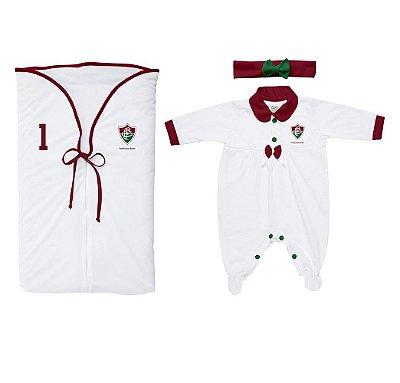 Kit Maternidade Fluminense Meninas Branco Torcida Baby