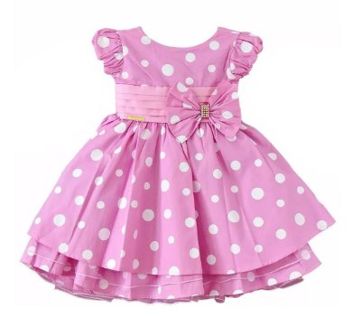 Vestido Infantil Minnie Rosa Laço