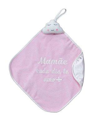 Naninha Bebê Cetim Nuvem Mamãe Rosa Zip
