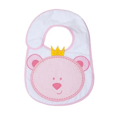 Babador Bebê Felpudo e Plastificado Urso Rosa 1Pç Papi