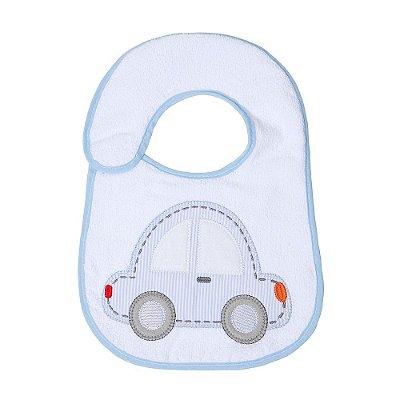 Babador Bebê Felpudo e Plastificado Carro Azul 1Pç Papi