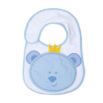 Babador Bebê Felpudo e Plastificado Urso Azul 1Pç Papi