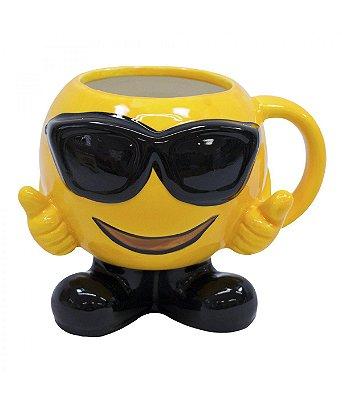 Caneca Porcelana Emoji Óculos 400ml