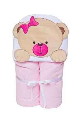 Toalha De Banho Sem Forro Urso Rosa Com Capuz Papi