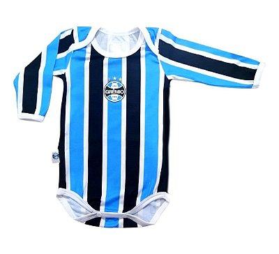 Body Bebê Grêmio Campo Listrado Longo Oficial