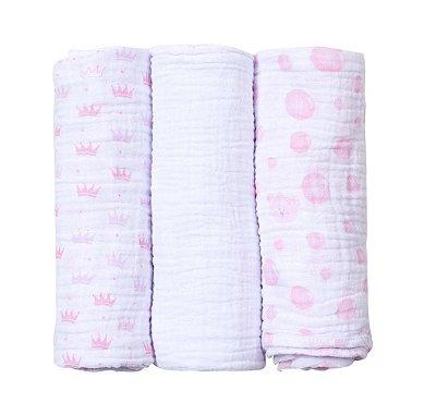 Kit Cueiro Soft Princesa Rosa 3 Peças 1,0m X 80cm Papi
