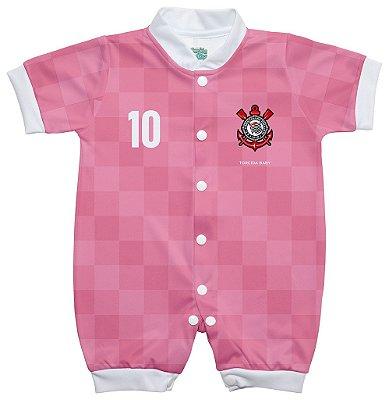 Macacão Corinthians Bebê Curto Rosa - Torcida Baby