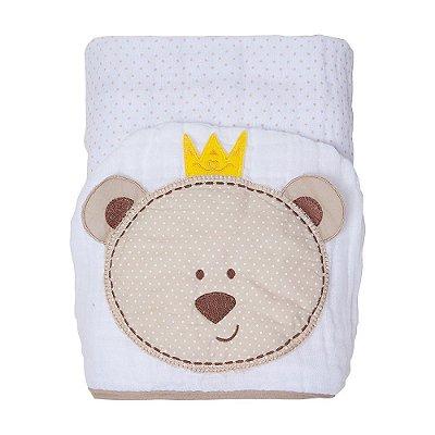 Toalha De Banho Soft Papi C/ Capuz Bordado Urso Bege