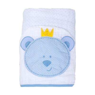 Toalha De Banho Soft Papi C/ Capuz Bordado Urso Azul