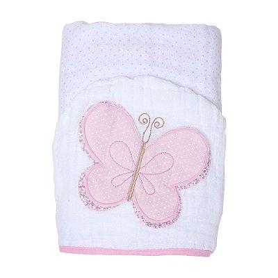 Toalha De Banho Soft Papi C/ Capuz Bordado Borboleta