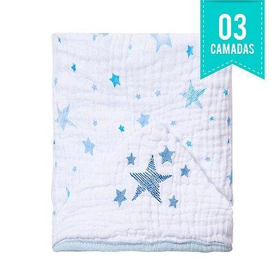 Toalha De Banho Papi Soft Com Capuz Bordado Celeste Azul