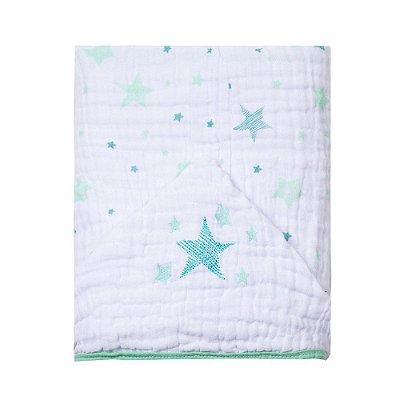 Toalha De Banho Papi Soft Com Capuz Bordado Celeste Verde