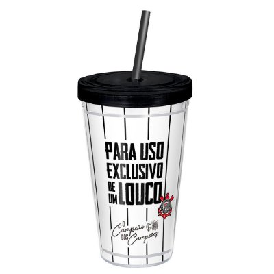 Copo com Canudo Corinthians Uso Exclusivo 450ml Oficial