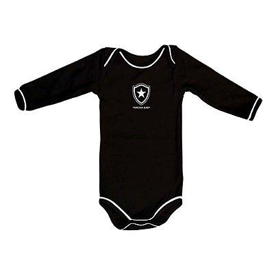 Body Botafogo Manga Longa Preto Oficial
