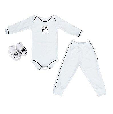 Kit Bebê Santos 3 Pçs Longo Branco Torcida Baby