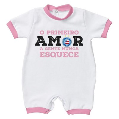 Macacão Bebê Bahia Primeiro Amor Rosa Oficial