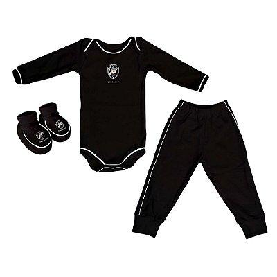 Kit Bebê Vasco 3 Pçs Preto Longo - Torcida Baby