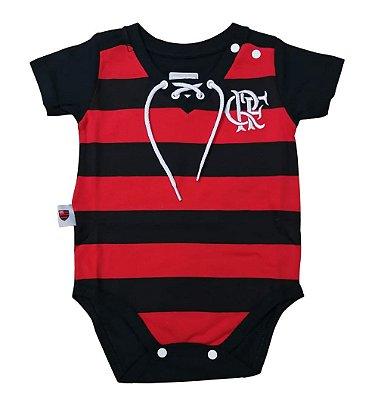 Body Bebê Flamengo Retrô Rubro Negro Oficial