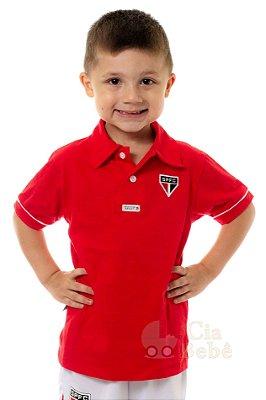 Camisa Polo Infantil São Paulo Vermelha Oficial