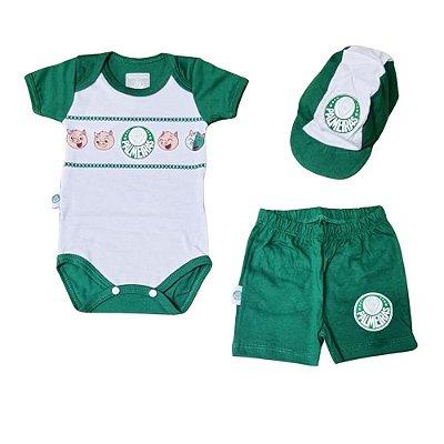 Conjunto Bebê Palmeiras Body Shorts e Boné Oficial