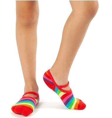 Meia Sapatilha Infantil Antiderrapante Colorida