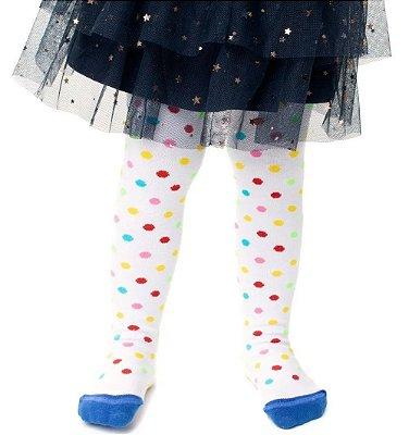 Meia Calça Infantil Bolinhas Coloridas Algodão