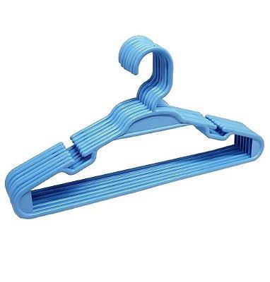Kit Com 10 Cabides Infantil Azul Amilplast