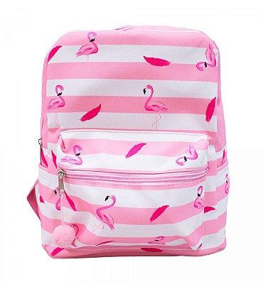 Mochila De Poliéster Rosa Flamingo 35x27