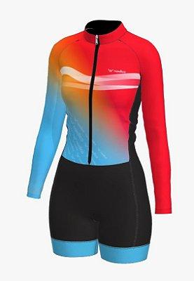 macaquinho ciclismo feminino manga longa Califórnia ref 1338 m11