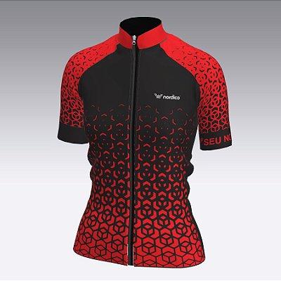 camisa ciclismo feminino nordico nitro personalizado vermelho  ref 1350  c1