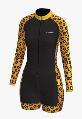 macaquinho ciclismo feminino manga longa onça ref 1138 m13
