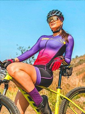 macaquinho ciclismo feminino manga longa estelar ref 1343 m29