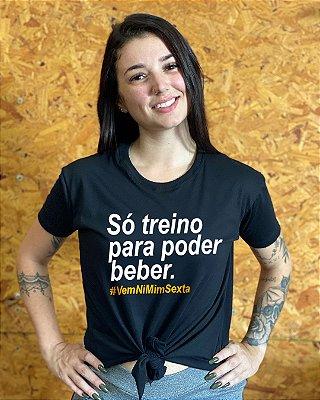 Camiseta feminina laço nordico beber só treino para poder beber