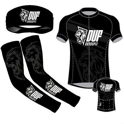 CONJUTO camisa ciclismo + manguito + headband DUF crossfit