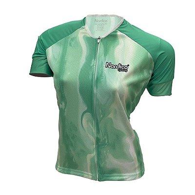 camisa ciclismo feminino nordico tie dye neo mint