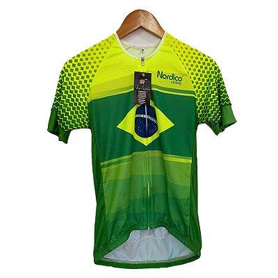 camisa ciclismo nordico Brasil com faixa refletiva 1126
