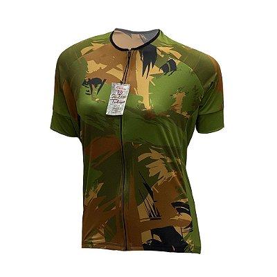 camisa feminina ciclismo nordico camuflado verde ref 1089