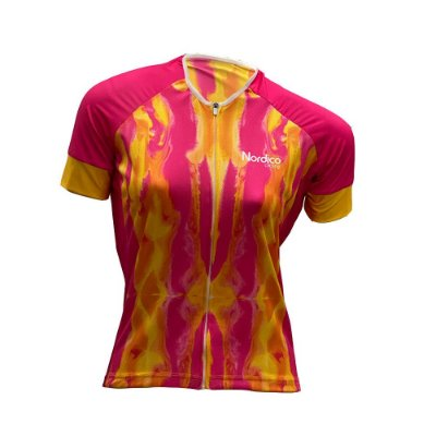 camisa feminina ciclismo nordico tie dye living coral com faixa refletiva