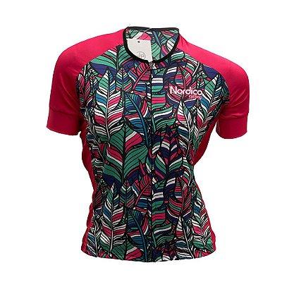 camisa feminina ciclismo nordico flores jardim ref 1012