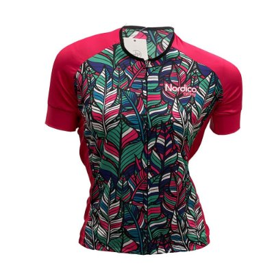 camisa feminina ciclismo nordico flores jardim