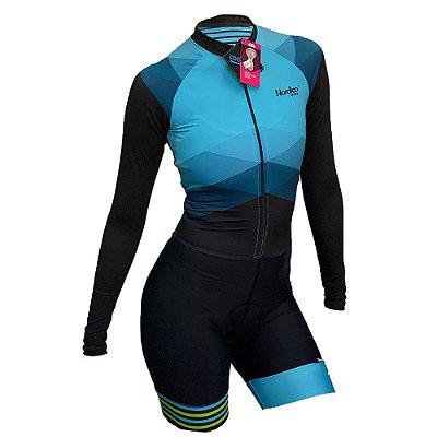macaquinho ciclismo feminino manga longa nordico aqua marine ref 1071