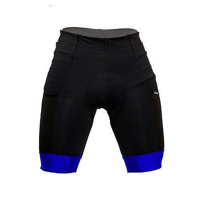 Bermuda ciclismo nordico com bolso barra azul