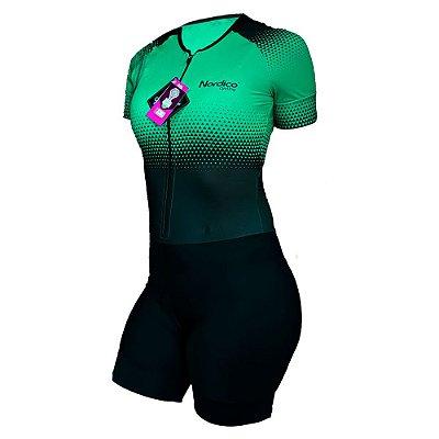 macaquinho ciclismo feminino nordico setaesmeralda ref 1032
