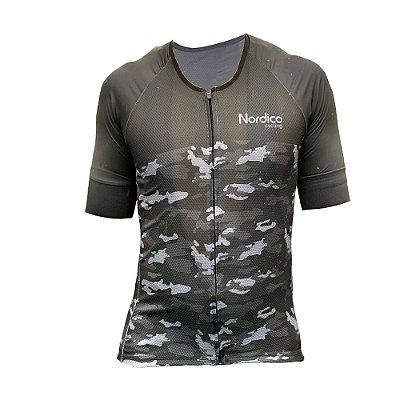 camisa ciclismo nordico camuflado black com faixa refletiva ref 1100