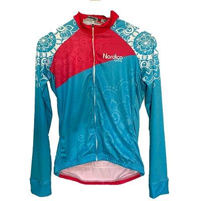 camisa ciclismo feminino manga longa nordico mandala ref 1230